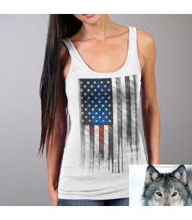 T-shirt Débardeur Femme Drapeau Américain