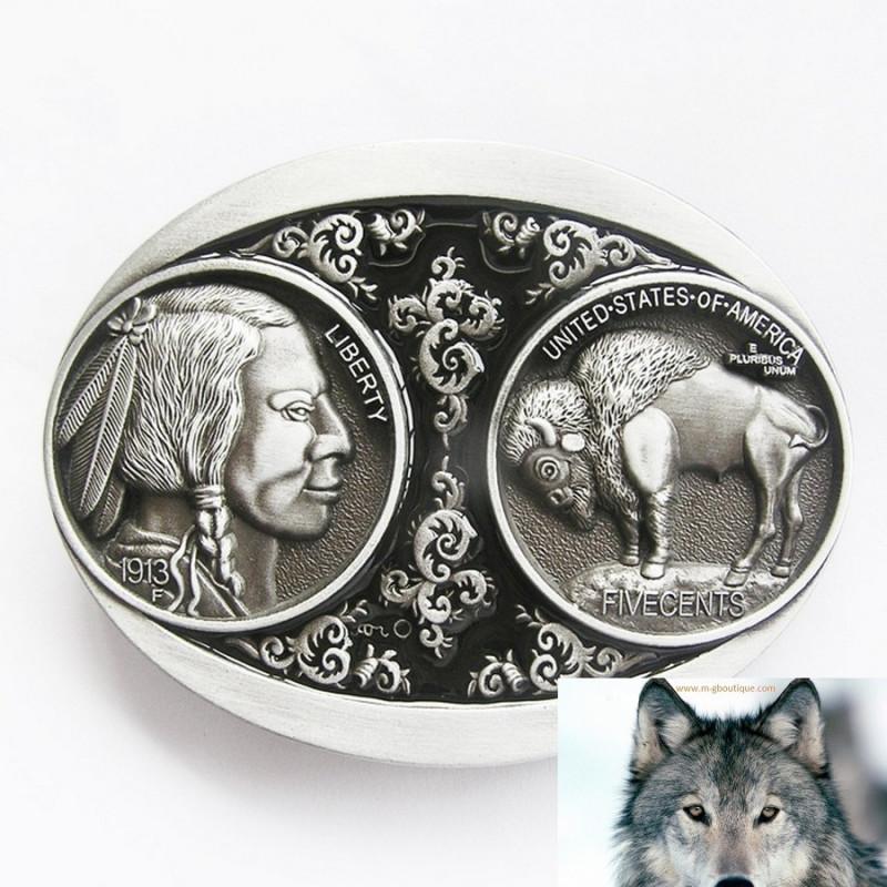 Boucle De Ceinture Country Indien et Bison