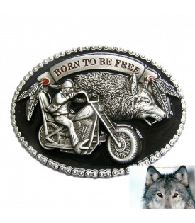Boucle Biker Loup Born to be Free