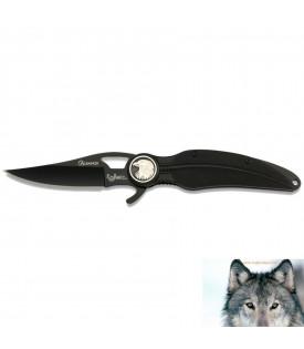Couteau Aigle Plume Noir Biker