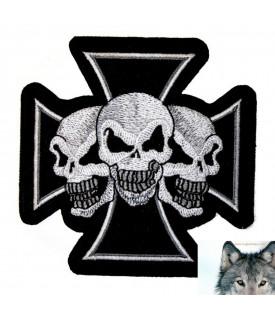 Patch Croix De Malte Trio Skull Biker Custom