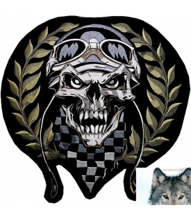 Ecusson Patch Skull Casque Damier Biker
