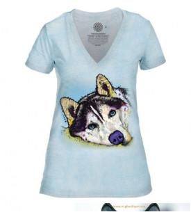 T-shirt Femme Russo Siberian Husky.