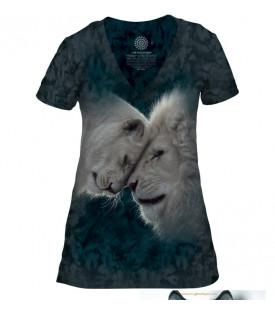 T-SHIRT FEMME COL EN V LES LIONS BLANCS AMOUREUX