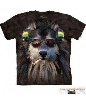 T-shirt Loup Rasta Reggae Cigarette