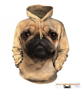 SWEAT-SHIRT À CAPUCHE CHIEN CARLIN