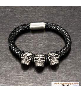 Bracelet En Cuir Têtes De Mort