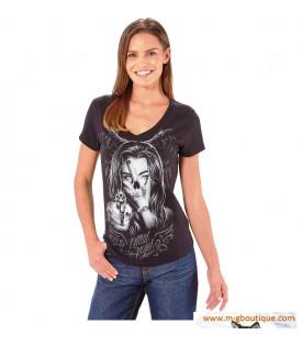 T-shirt Visage Femme Pistolet