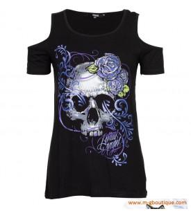 T-shirt Femme Crane Roses.