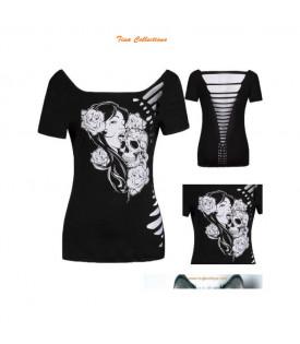 T-Shirt Femme Visage Crane