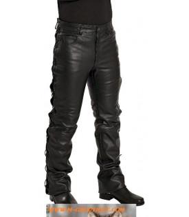 Pantalon Cuir Noir Lacets.