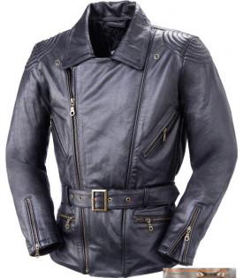 Veste Moto Cuir Longue Noir...
